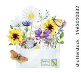 Watercolor Envelope With Wild...