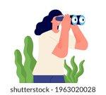 girl looking binocular.... | Shutterstock .eps vector #1963020028