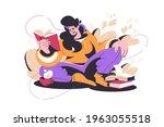 woman reading interesting story ...   Shutterstock .eps vector #1963055518