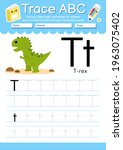 alphabet tracing worksheet with ... | Shutterstock .eps vector #1963075402