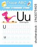 alphabet tracing worksheet with ... | Shutterstock .eps vector #1963075405