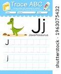 alphabet tracing worksheet with ... | Shutterstock .eps vector #1963075432
