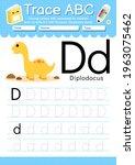 alphabet tracing worksheet with ... | Shutterstock .eps vector #1963075462