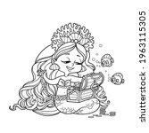 cute little mermaid girl in... | Shutterstock .eps vector #1963115305