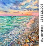 Watercolor Summer Beach....
