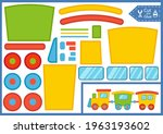 paper puzzle game with cartoon... | Shutterstock .eps vector #1963193602