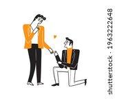 homosexual couples celebrating...   Shutterstock .eps vector #1963222648