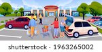 people at parking lot near... | Shutterstock .eps vector #1963265002