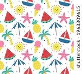 seamless pattern summer. travel ... | Shutterstock .eps vector #1963309615