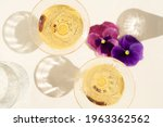 champagne and pansy flowers...   Shutterstock . vector #1963362562