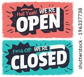 vector open and closed signs