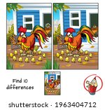 rooster counting chicks. find... | Shutterstock .eps vector #1963404712