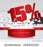 red 15 percent discount on... | Shutterstock .eps vector #196342256