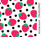 cute hand drawn strawberry and... | Shutterstock .eps vector #1963423942