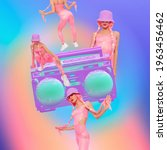 Small photo of Contemporary digital collage art. Girls back in 90s pop zine culture. Party, tape recorder, vintage lover