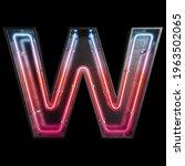 neon light alphabet w with...   Shutterstock . vector #1963502065