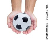 soccer ball on hands isolated... | Shutterstock . vector #196358786