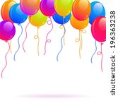 bright colorful balloons on top ... | Shutterstock .eps vector #196363238