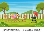 bbq party in the backyard with...   Shutterstock .eps vector #1963674565