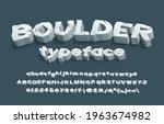 boulder alphabet font. 3d...   Shutterstock .eps vector #1963674982