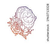 watch rose flower with vintage... | Shutterstock .eps vector #1963713328