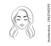 young woman face. beautiful... | Shutterstock .eps vector #1963740295