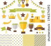 trophy and winners icons set.... | Shutterstock .eps vector #196374392