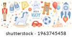 hand drawn baby boy shower set. ... | Shutterstock .eps vector #1963745458