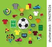 soccer icons set. illustration... | Shutterstock .eps vector #196378226