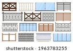 balcony fence. wooden  stone... | Shutterstock .eps vector #1963783255