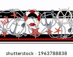 border with starfishes  anchors ... | Shutterstock .eps vector #1963788838