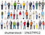 group of multiethnic diverse... | Shutterstock . vector #196379912