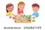 kids playing board game... | Shutterstock .eps vector #1963867195