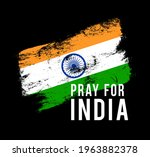 pray for india. india flag with ... | Shutterstock .eps vector #1963882378