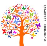 Tree With Butterflies. Vector...