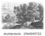 landscape with a river. on the... | Shutterstock . vector #1964045722