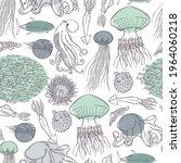 hand drawn fish and wild marine ...   Shutterstock .eps vector #1964060218
