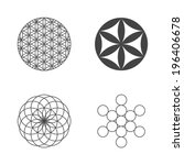 flower of life. set of icons.... | Shutterstock .eps vector #196406678