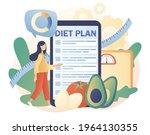 tiny woman follow diet plan... | Shutterstock .eps vector #1964130355