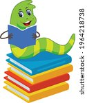 bookworm cartoon vector art and ... | Shutterstock .eps vector #1964218738