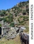 Small photo of Ruins of ancient agora in Alinda, Turkey