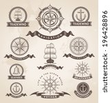 vintage nautical marine label... | Shutterstock .eps vector #196428896