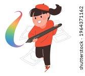 manga writer.  a female writer...   Shutterstock .eps vector #1964371162