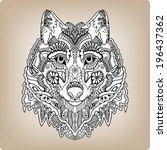 tribal ethnic wolf totem ... | Shutterstock .eps vector #196437362