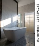 a white bathtub is placed in a...   Shutterstock . vector #1964391268