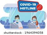 call center emergency worker...   Shutterstock .eps vector #1964394058