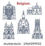 belgium landmarks  cathedrals... | Shutterstock .eps vector #1964399932