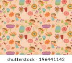 floral seamless pattern with... | Shutterstock .eps vector #196441142