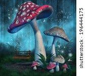 Fantasy Mushrooms With A Fairy...