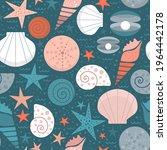 seamless print with seashells... | Shutterstock .eps vector #1964442178